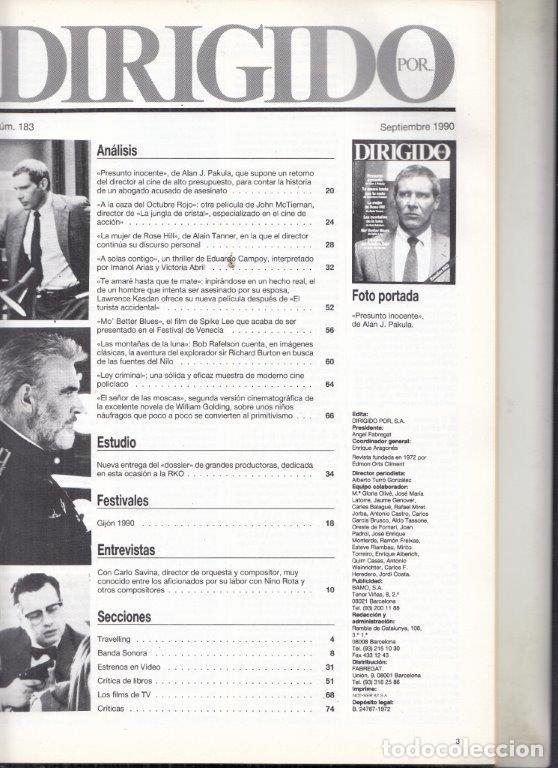 Cine: REVISTA DIRIGIDO POR Nº 183 AÑO 19910. PRESUNTO INOCENTE. ESTUDIOS RKO. LA CAZA DEL OCTUBRE ROJO. - Foto 2 - 245763735