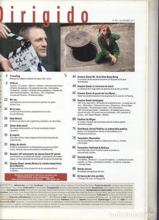 Cine: REVISTA DIRIGIDO POR Nº 427 AÑO 2012. DOSSIER (2º) 007 50 ANIVERSARIO. CLINT EASTWOOD. HOLY MOTORS. - Foto 2 - 245983530