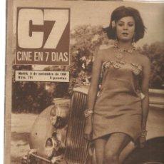 Cinema: CINE EN 7 DIAS. Nº 291. SARA MONTIEL / SHEILA / PUBLICIDAD DISCO RAPHAEL. 5/XI/ 1966.(*). Lote 248746295