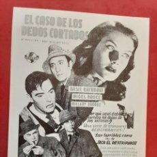 Cinéma: EL CASO DE LOS DEDOS CORTADOS, BASIL RATHBONE, IMPRESO EN LOS AÑOS 80. Lote 252156820