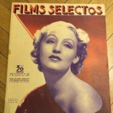 Cine: REVISTA FILMS SELECTOS SHIRLEY TEMPLE BRIGITTE HELM GLENDA FARRELL THELMA TODD GARY COOPER. Lote 252773120