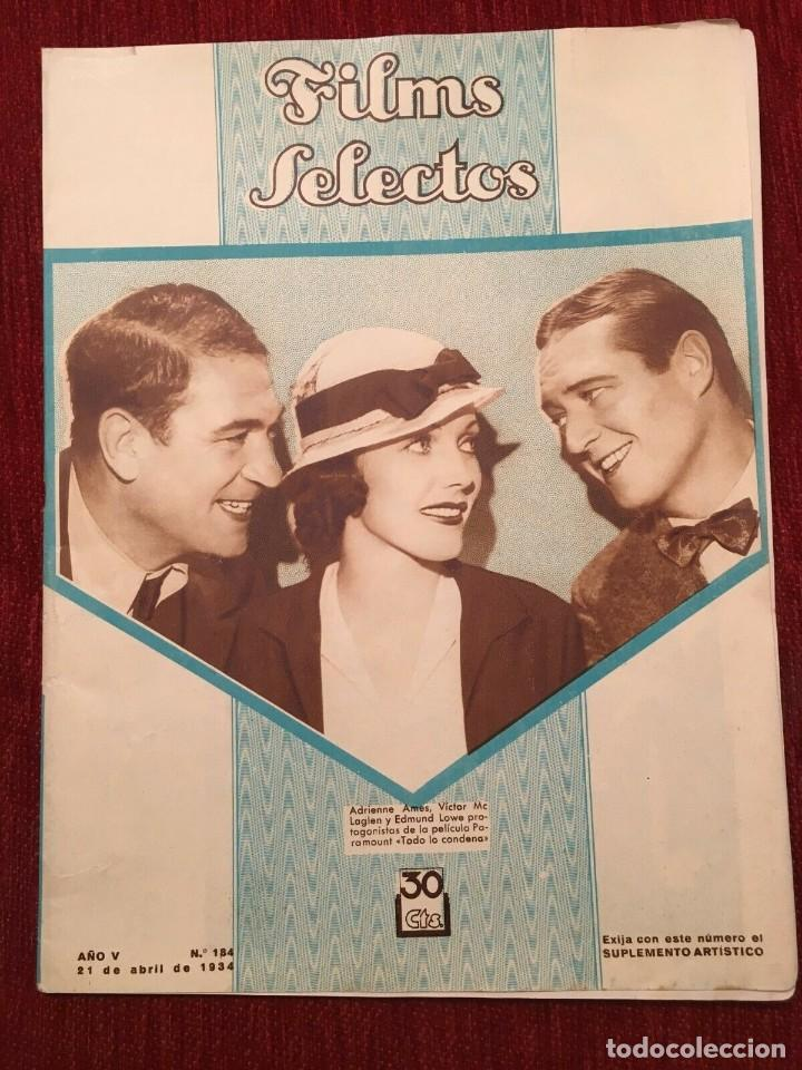 REVISTA FILM SELECTOS 1934 SHIRLEY TEMPLE ADRIENNE AMES EDMUND LOWE CARMEN BONI ANNA STEN (Cine - Revistas - Films selectos)