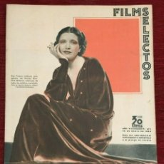 Cine: REVISTA FILM SELECTOS KAY FRANCIS SHIRLEY TEMPLE JOAN CRAWFORD LILY PONS ROCHELLE HUDSON. Lote 252780880