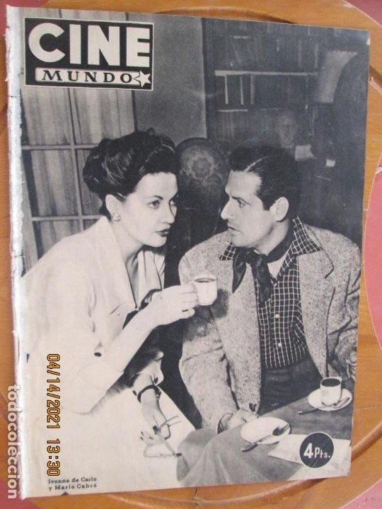 CINE MUNDO REVISTA Nº 14 MAYO 1952 - PORTADA IVONNE DE CARLO - MARIO CABRE - CONTRA- AILEEN STANLEY (Cine - Revistas - Cámara)