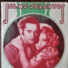 Cine: FILMS SELECTOS Nº 58 DE 1931- TRADER HORN- PIO BAROJA- IMPERIO ARGENTINA- MERCEDES SEROS- CATALINA B. Lote 258007645