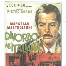 Cine: CINE ITALIANO. DIVORZIO ALL´ITALIANA. TARJETA POSTAL. Lote 262848150