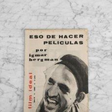 Cine: FILM IDEAL - Nº 68 - 1961 - INGMAR BERGMAN, SEMANA DEL CINE ALEMAN, EL SEPTIMO SELLO. Lote 266648238