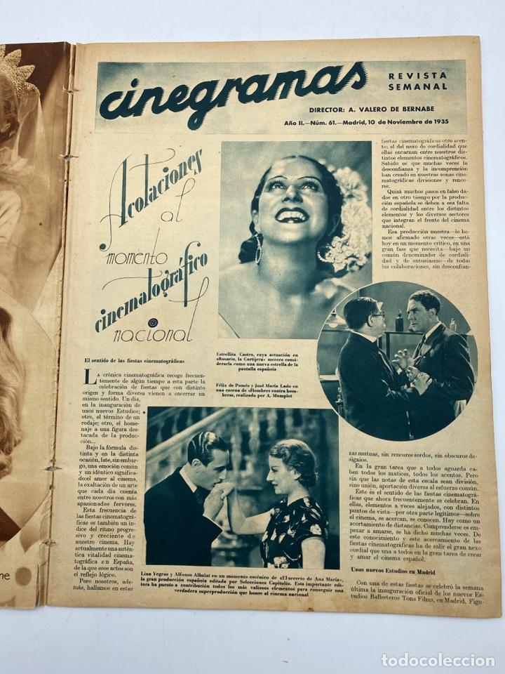 Cine: REVISTA CINEGRAMAS. AÑO II. Nº 61. NOVIEMBRE, 1935. PORTADA: HILDE HILDEBRAND - Foto 2 - 269601903