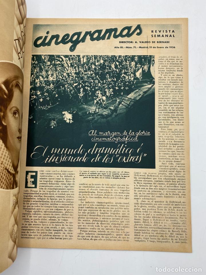 Cine: REVISTA CINEGRAMAS. AÑO III. Nº 74. ENERO, 1936. PORTADA: GRACE MOORE - Foto 2 - 269615483