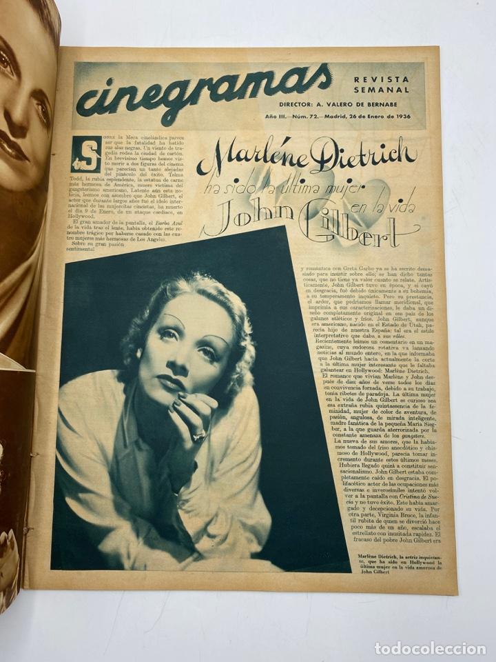 Cine: REVISTA CINEGRAMAS. AÑO III. Nº 72. ENERO, 1936. PORTADA: MARION DAVIES - Foto 2 - 269618123