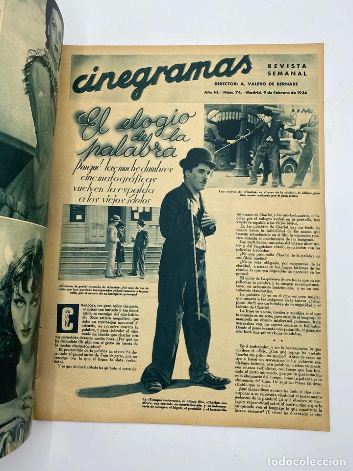 Cine: REVISTA CINEGRAMAS. AÑO III. Nº 74. FEBRERO, 1936. PORTADA: LINA YEGROS - Foto 2 - 269619228