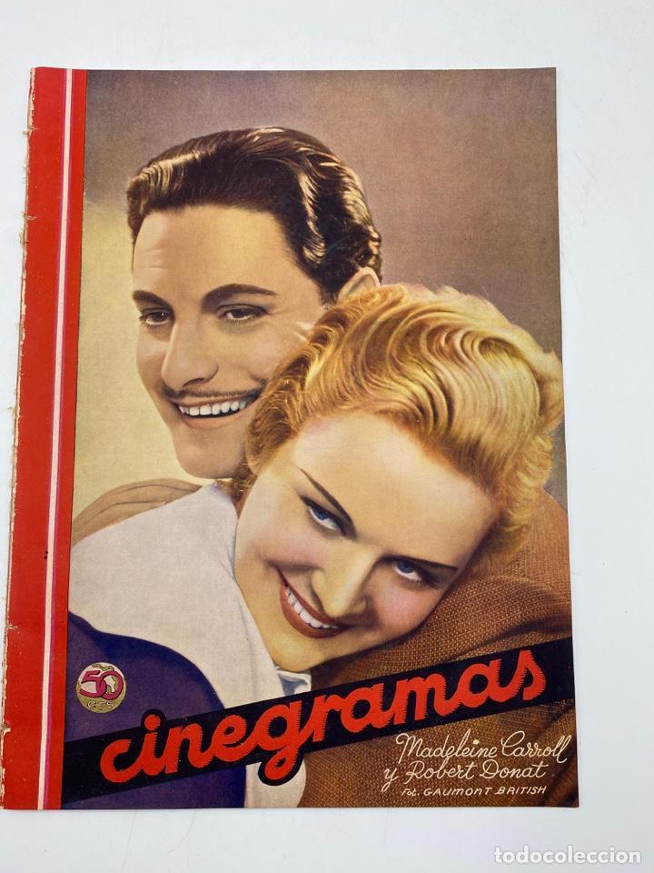 REVISTA CINEGRAMAS. AÑO III. Nº 75. FEBRERO, 1936. PORTADA: MADELEINE CARROLL Y ROBERT DONAT (Cine - Revistas - Cinegramas)