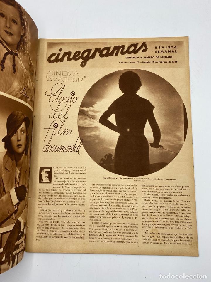 Cine: REVISTA CINEGRAMAS. AÑO III. Nº 75. FEBRERO, 1936. PORTADA: MADELEINE CARROLL Y ROBERT DONAT - Foto 2 - 269619658