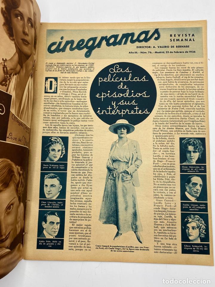 Cine: REVISTA CINEGRAMAS. AÑO III. Nº 76. FEBRERO, 1936. PORTADA: KATHERINE HEPBURN - Foto 2 - 269620298