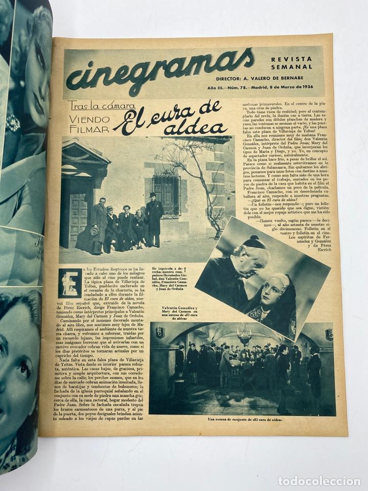 Cine: REVISTA CINEGRAMAS. AÑO III. Nº 78. MARZO, 1936. PORTADA: MYRNA LOY - Foto 2 - 269621158