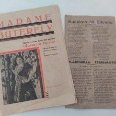 Cinema: 2 PASQUINES DE DE TEATRO MADAME BUTERFLY. VER FOTOS. Lote 272451828
