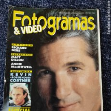 Cine: FOTOGRAMAS Nº. 1776 JULIO/AGOSTO 1991 - RICHARD GERE , MATT DILLON, ANDIE MACDOWELL, KEVIN COSTNE. Lote 277622718