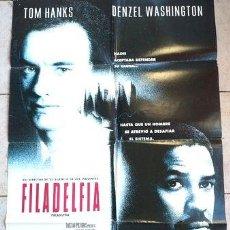 Cine: AFICHE CINE ORIGINAL FILADELFIA TOM HANKS D WASHINGTON. Lote 278916708
