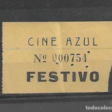 Cine: 1508- AÑOS 50. ENTRADA AL CINE AZUL FESTIVO DE MADRID. Lote 285764503