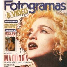 Cine: FOTOGRAMAS. Nº 1763. MADONNA. DESPLEGABLE: MICHELLE PFEIFFER. MAYO, 1990.(B/42). Lote 288050613
