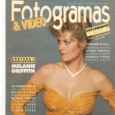 Cine: FOTOGRAMAS. Nº 1772. DESPLEGABLE: MELANIE GRIFFIH. SUPLEMENTO TV. MARZO, 1991(B/42). Lote 288057858