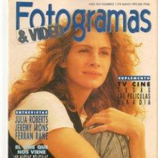 Cine: FOTOGRAMAS. Nº 1774. JULIA ROBERTS. DESPLEGABLE: ROBERT DE NIRO. SUPLEMENTO TV. MAYO, 1991(B/42). Lote 288058823