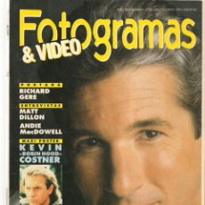 Cine: FOTOGRAMAS. Nº 1776. RICHARD GERE. SUPLEMENTO CINE - TV. JULIO/AGOSTO 1991(B/42). Lote 288059783