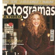 Cine: FOTOGRAMAS. Nº 1806. JULIA ROBERTS / JORGE SANZ. MARZO,1994.(B/42). Lote 288317003