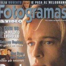 Cine: REVISTA FOTOGRAMAS Nº 1864 AÑO 1999. BRAD PITT. GOYA 98. ANTHONY HOPKIINS. MARG RYAN & TON HANKS.. Lote 295814333