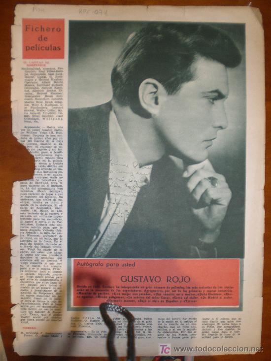 GUSTAVO ROJO. 1950. PRIMER PLANO: RECORTE PRENSA (Cine - Varios)