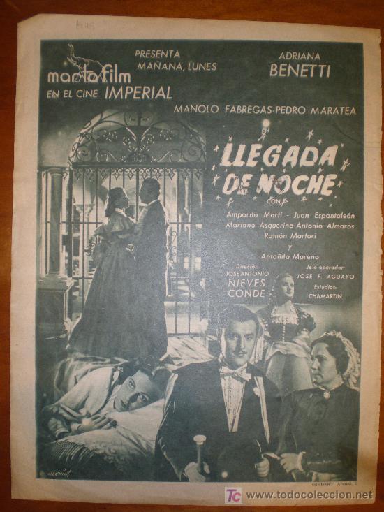 LLEGADA DE NOCHE . ANUNCIO-PAGINA. 1949. PRIMER PLANO: RECORTE DE PRENSA (Cine - Varios)