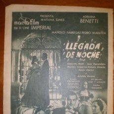 Cine: LLEGADA DE NOCHE . ANUNCIO-PAGINA. 1949. PRIMER PLANO: RECORTE DE PRENSA. Lote 7314231