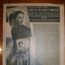 Cine: MARIA DE LOS ANGELES MORALES. 1949. PRIMER PLANO: RECORTE DE PRENSA. Lote 7351945