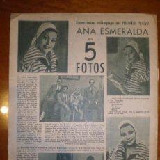 Cine: ANA ESEMRALDA EN 5 FOTOS. 1949. PRIMER PLANO: RECORTE DE PRENSA. Lote 7358403