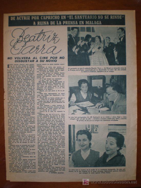 BEATRIZ PARRA.. 1954. PRIMER PLANO: RECORTE DE PRENSA (Cine - Varios)