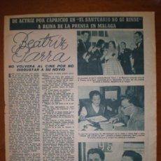 Cine: BEATRIZ PARRA.. 1954. PRIMER PLANO: RECORTE DE PRENSA. Lote 7396305