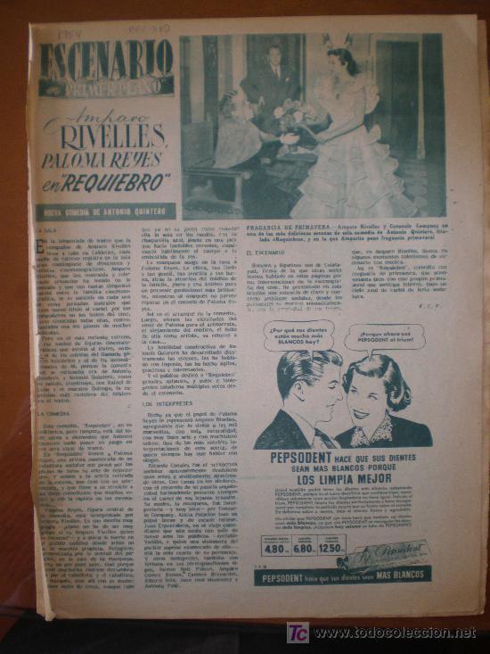 AMPARO RIVELLES , PALOMA REYES EN REQUIEBRO. 1954. PRIMER PLANO: RECORTE DE PRENSA (Cine - Varios)