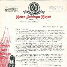 Cine: CARTA COMERCIAL,DE LA METRO-GOLDWYN-MAYER-1950. Lote 7988713
