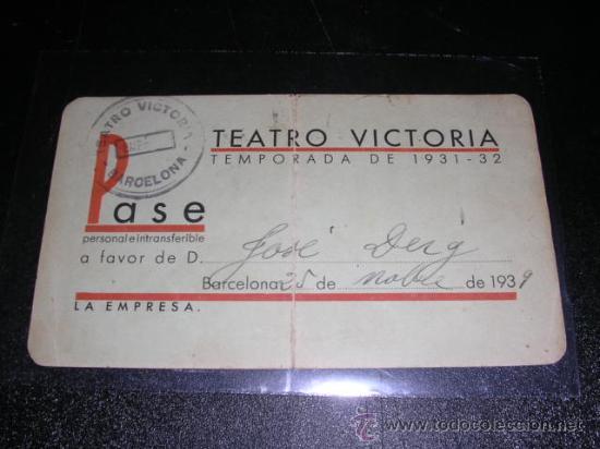 CARNET - TEATRO VICTORIA, TEMPORADA DE 1931 - 32, BARCELONA 1939 (Cine - Varios)