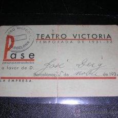 Cine: CARNET - TEATRO VICTORIA, TEMPORADA DE 1931 - 32, BARCELONA 1939. Lote 9443468