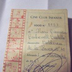 Cine: CINE CLUB INFANTIL.- CARNET DE SOCIO Nº. 1653-ALICANTE.. Lote 19448380