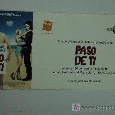 Cine: PASO DE TI - INVITACION AL PREESTRENO - JASON SEGEL KRISTEN BELL MILA KUNIS. Lote 13104529