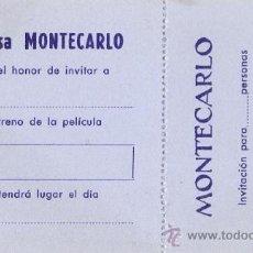 Cine: INVITACION A ESTRENOS. CINE MONTECARLO. BARCELONA. SIN USAR. . Lote 17102944