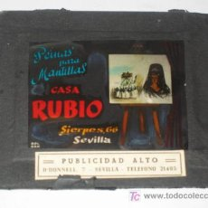 Diapositiva cristal con anuncio publicidad peinas para mantillas Casa Rubio Sevilla. Semana Santa