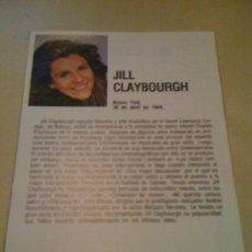 Cine: FICHA DE LA ACTRIZ JILL CLAYBOURGH. CON FOTOGRAFÍA Y BIOGRAFÍA + FILMOGRAFÍA POR DETRÁS.. Lote 17612138