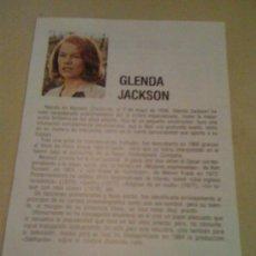 Cine: FICHA DE LA ACTRIZ GLENDA JACKSON. CON FOTOGRAFÍA Y BIOGRAFÍA + FILMOGRAFÍA POR DETRÁS.. Lote 17632076