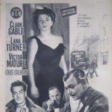Cine: BRUMAS DE TRAICION CLARK GABLE AVA GARDNER MATURE - PUBLICIDAD ORIGINAL DEL ESTRENO. Lote 19565712