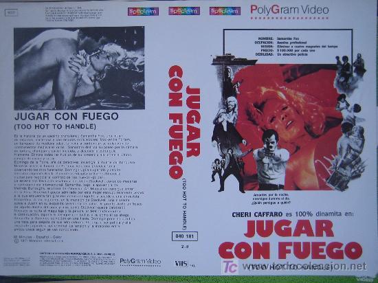 JUGAR CON FUEGO- CARATULA DE VIDEO TAMAÑO GRANDE - CHERI CAFFARO (Cine - Varios)
