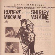 Cine: CUALQUIER DÍA EN CUALQUIER ESQUINA. ROBERT WISE. 1963. ROBERT MITCHUM. SHIRLEY MACLAINE. CB FILMS.. Lote 26843916