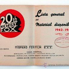 Cine: CATÁLOGO CINEMATOGRÁFICO TWENTY CENTURY FOX, 1942-43. Lote 28483964